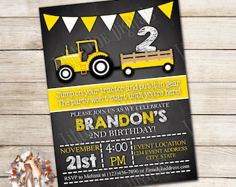 Personalized Tractor Birthday Party Invitation - Digital File or Printed Copies - Printable - Invitation - Invite 5x7 or 4x6 - Yellow White