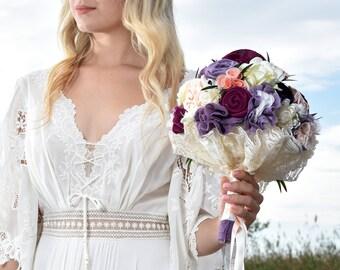 bridal bouquet,purple bouquet, wild flowers bouquet, purple bouquet, lavender wedding, plum bouquet, wedding bouquet, fabric bouquet