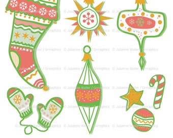 Retro Christmas Clipart: Stocking, mittens, decorations and cookies plus printable collage sheet