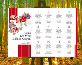 Tableau mariage, wedding guests, assigning tables. Line Japan. Green and red. Downloadable custom wedding seating chart