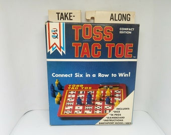 Vintage Toss Tac Toe Take-Along Compact Game - Smethport Model #4009