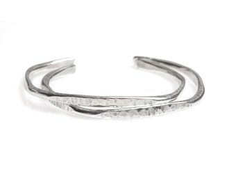 Hammered Silver Cuff Bracelet - Sterling Silver Bracelet - Hammered Cuff - Handcrafted Jewelry - Journey Cuff -