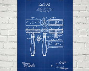 1904 Gillette Razor Patent Wall Art Poster, Home Decor, Gift Idea