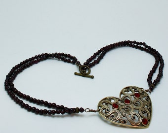 Vintage Heart Brooch Pendant Necklace 3597