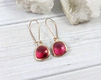 Small Rose Gold Earrings, Ruby Earrings, Dainty Minimalist Earrings, Rose Gold Stone Earrings, Simple Minimal Earrings, Everyday earrings,