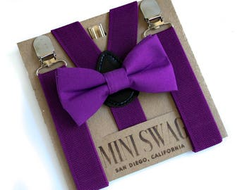 Royal Purple Bow Tie and Suspenders, Boys Birthday Outfit, Ring Bearer Outfit, Toddler Suspenders, Baby Bow Tie, Purple Wedding Suspenders