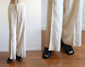 "Vintage Ralph Lauren Creme Linen Wide Leg Pants / Cropped Pants / High Waisted / Made in the USA / 31"" W"