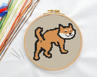 PATTERN: Shiba dog cross stitch pattern, Modern Cross Stitch Pattern, Cute Cross Stitch Pattern, Instant Download PDF