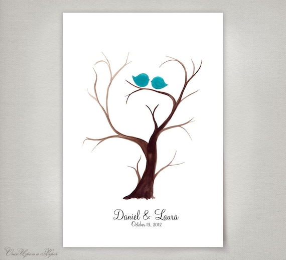 Personalized Thumbprint Tree Wedding Guest Book Alternative: Custom Fingerprint Wedding Guest Book Alternative Tree Trunk