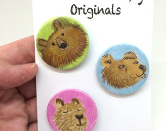 Set of 3 Hand Painted Bear Badges
