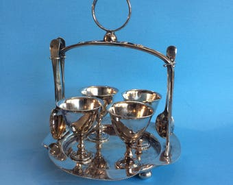 Vintage Hallmarked England Silverplate Egg Cup Serving Set with Cups, Holder and Spoons