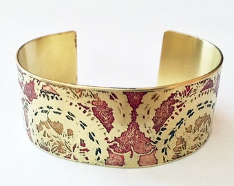 Etched Brass Cuff Bracelet - Free Domestic Shipping