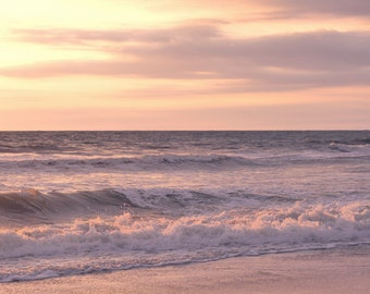 Pink sunset print, ocean photography, beach sunset picture, pink peach ocean art, girls room nursery art, ocean bedroom nautical chic decor