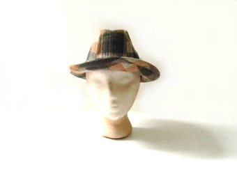Vintage Brown Plaid Stevens Fedora hat