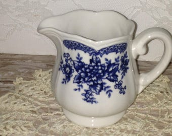 Blue and White Cream Pitcher
