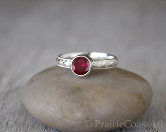 Garnet Ring in Sterling Silver - Handcrafted Artisan Silver Ring - Sterling Silver Garnet Stacking Ring - January Birthstone Ring