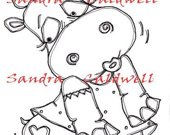 251 Tattoo Hippo Digi Stamp