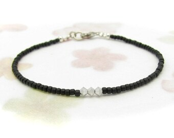 Black Beaded Bracelet, Black Ice Dainty Friendship Bracelet, Silver Swarovski Crystal, Minimal Bracelet, Seed Bead Bracelet, Miss Cece