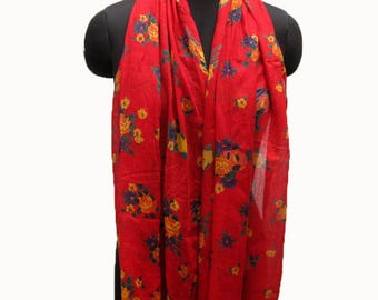 Floral scarf/ rose print scarf/ light weight scarf/ red scarf/ all season scarf /gift scarf/ / gift ideas.