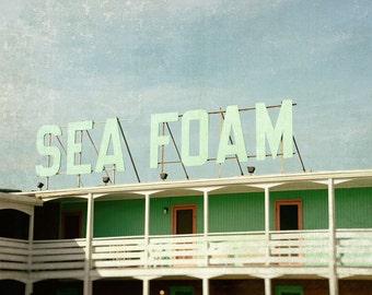 Beach Photography, Beach Decor, Retro Motel Sign, Sea Foam, Outer Banks, Fine Art Print, Coastal Decor, sea green, ocean blue, Wall Art