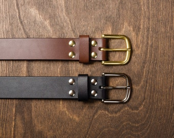 Leather Belt - Full Grain European Bridle Leather belt / brass buckle / custom leather belt / gift for him her / fathers day