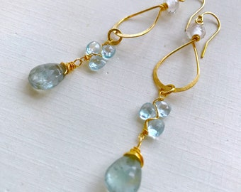 Topaz, Aquamarine, Quartz Gypsy Hoop Earrings