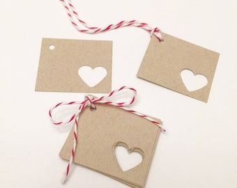 Tiny Heart Gift Tags - Set of 10 - Heart Favor Tags - Wedding Favor Tags - Kraft Gift Tags - Rustic Valentine Tags - Small Gift Tags