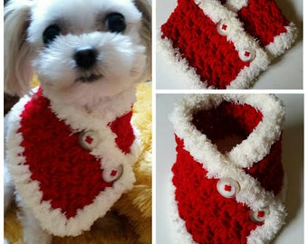 Crocheted Small Dog Neck warmer, Dog Scarf, Puppy neck warmer scarf fits most S or M dogs or Cats
