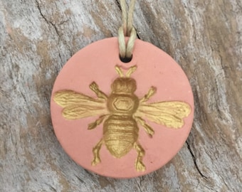 Bee Pendant | Essential Oil Diffuser Necklace | Aromatherapy Stone | Gold Bee Pendant