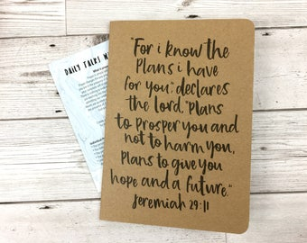 Christian Prayer Journal, Bible Journal, Confirmation Gift, Graduation Gift, 'For I Know the Plans', Kraft Scripture Journal - Eco Friendly
