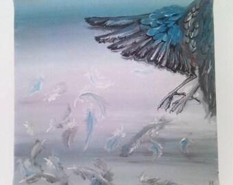 "Original Oil Painting on Canvas, Blue Bird, 8""x8"","