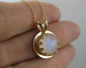 gold moonstone pendant, gold necklace, rainbow moonstone gemstone necklace, 14k gold pendant, recycled gold necklace