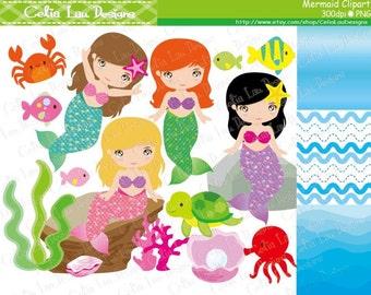 Mermaids Clipart / Princess Mermaids clipart, Mermaid clip art and digital background paper set/ Instant Download (CG160)