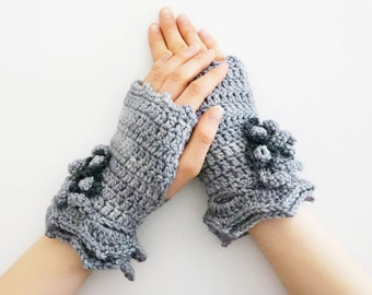 Floral Blossom Arm Warmers, gray hand warmers, Hand painted merino wool, floral hand warmers, merino wool, arm warmers