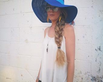 hat - fasion -Gifts for her - hat & caps  – spring hat - sun hat - summer hat-Floppy Beach Hat-blue,large brimmed,sunflower,Floppy disks