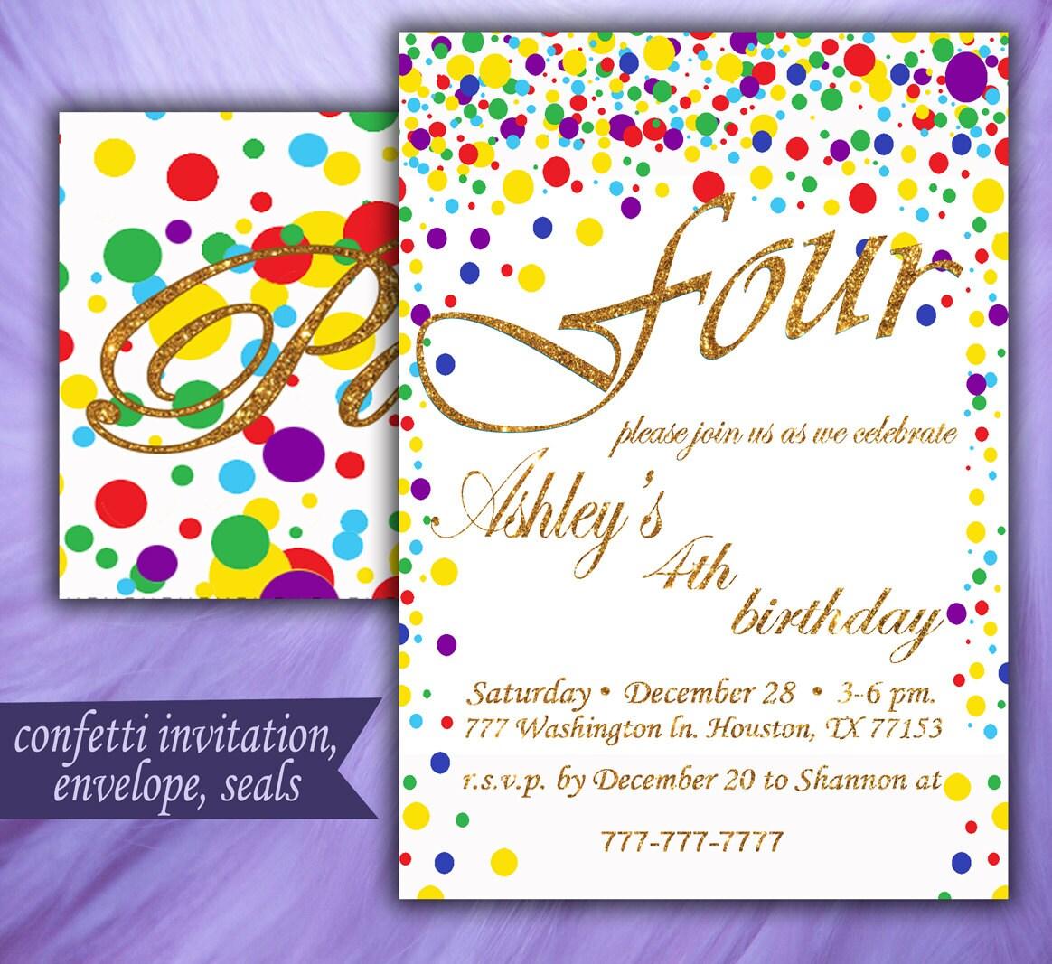 Printable Confetti Party Confetti Invitation Confetti