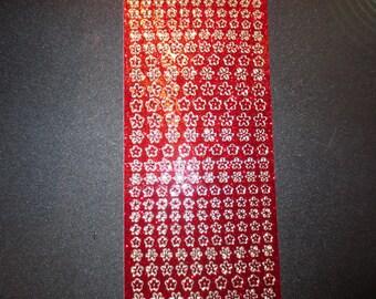 Glitter red/gold small flower starform stickers 7048grgo