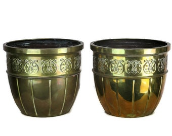 Two Vintage Brass Planters Jardinieres flower pots Ornate Embossed