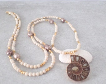 Long Tribal Necklace, Ammonite Fossile Necklace, Long Beaded Necklace, Long BOHO Necklace