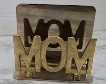 Vintage Brass Mom Paper Organizer Desk Storage Letter Holder File