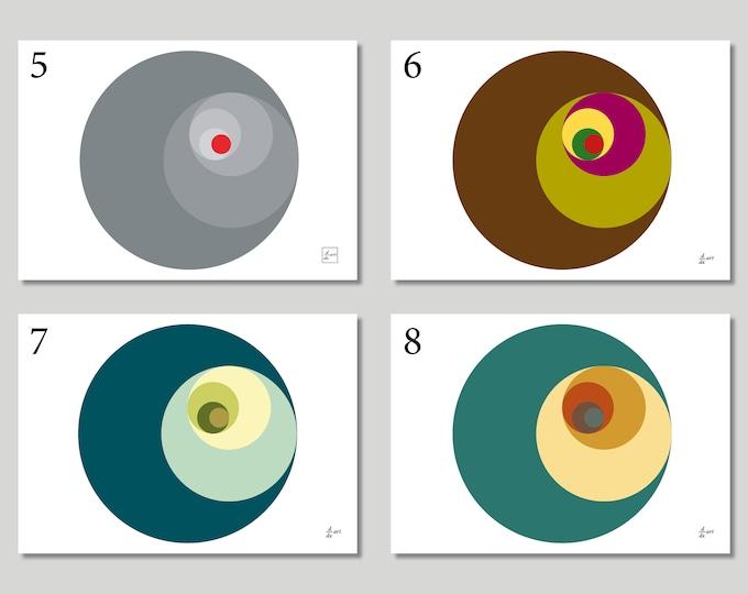 Golden Ratio Circles (Variants 5-8) [mathematical abstract art print, unframed] A4/A3 sizes