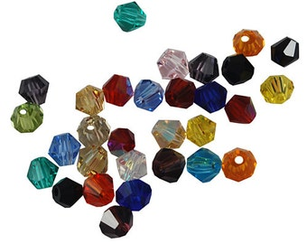 Bicone Beads Glass Bicone Beads 4mm Beads Glass Beads 4mm Bicone Beads Assorted Beads Bulk Beads Wholesale Beads Colorful Beads 50 pieces