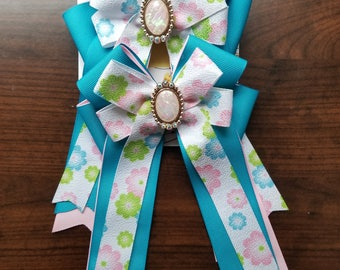 Pink, Blue, & White Spring Flowers Equestrian Show Bows (Grand Champion Size)