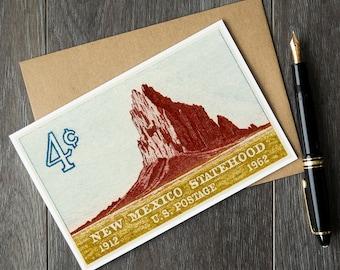 New Mexico fathers day card, San Juan Christmas card, New Mexico greeting card, New Mexico Shiprock postcard, US postage stamp art card