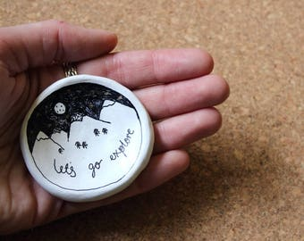 Let's Go Explore Small Trinket Clay Dish. Jewellery/Ring Dish. Handmade. Illustration. Mountains/Adventure/Travel. Quirky Gift.