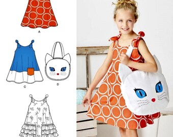 Sewing Pattern Childs' Sundress Pattern, Little Girl's Easy Sundress Pattern, Big Kitty Tote Bag Pattern, Simplicity Sewing Pattern 8102