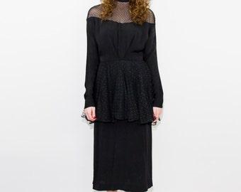 1940'S Black Lace Peplum Dress