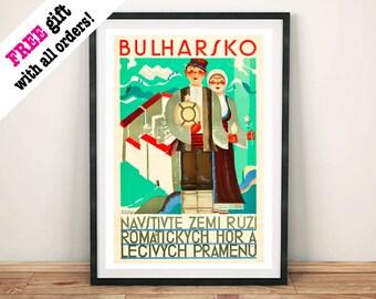BULGARIA POSTER: Vintage Bulharsko Travel Advert Art Print