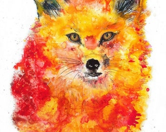 Fox art print: nursery animal art nursery decor nursery print fox decor fox art print fox painting fox spirit animal fox ears colorful fox