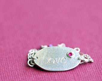 silver necklace, fine silver pendant, sterling chain, love-ly